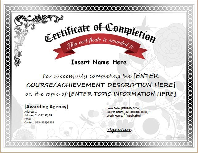 Certificate of Completion for MS Word DOWNLOAD at   - contacts template word