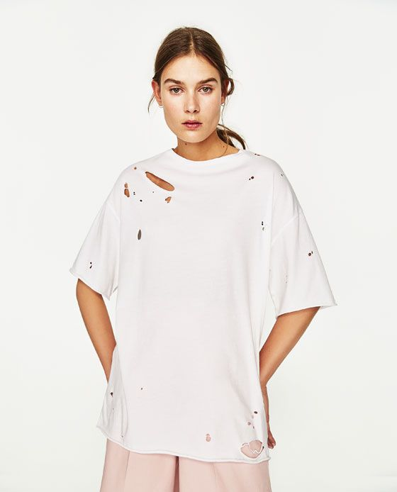 Image 2 of RIPPED T-SHIRT from Zara