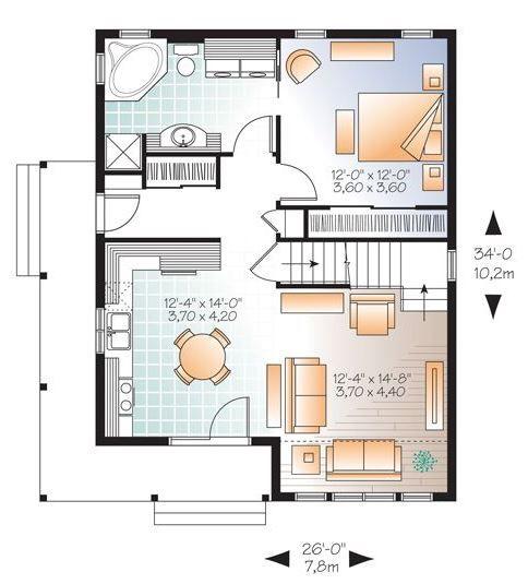 Plano de chalet de dos pisos y dos dormitorios planos for Planos chalets modernos una planta