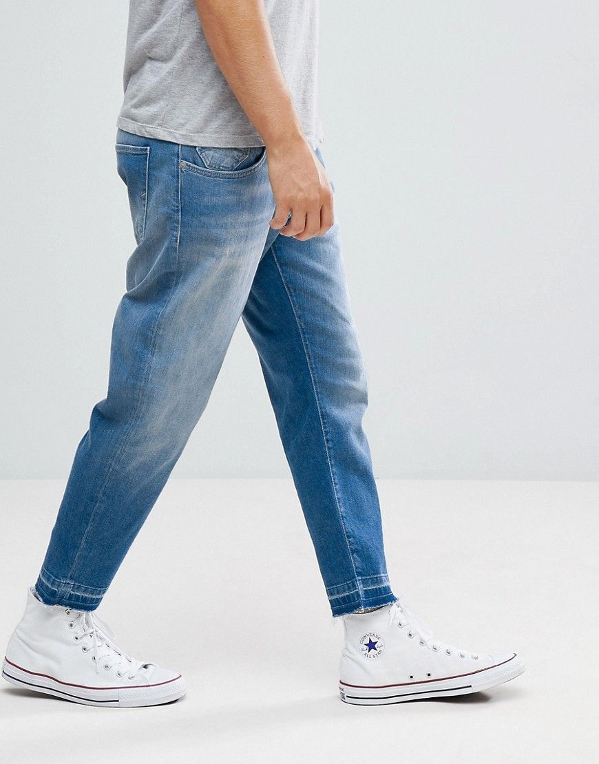Selected Homme Jeans In Tapered Fit With Cropped Leg Blue