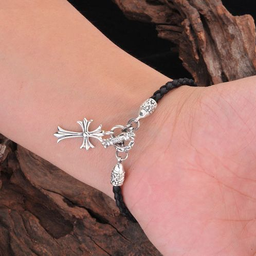 Cheap 925 Silver Cross Chrome Hearts Cattle Hide Bracelet