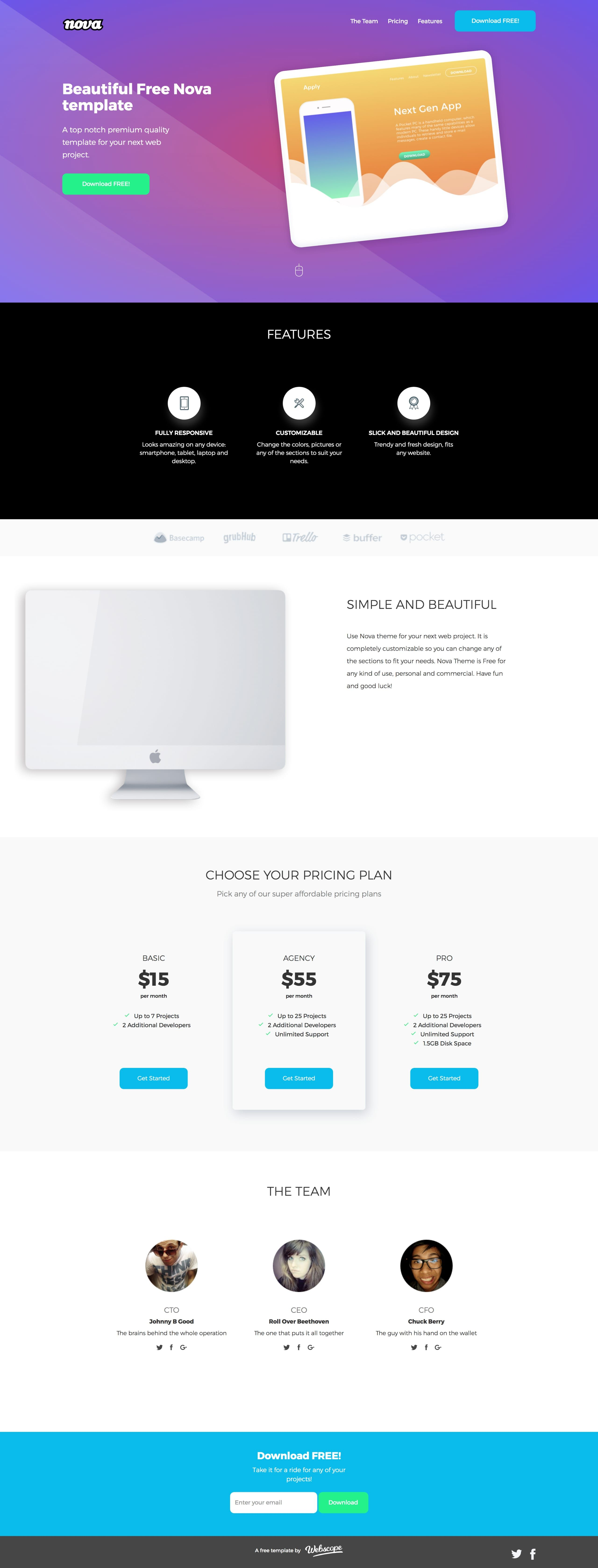 Nova is a clean landing page html template provided free by nova is a clean landing page html template provided free by webscope features include colorful intro section feature overview clientpublicity logos spiritdancerdesigns Image collections