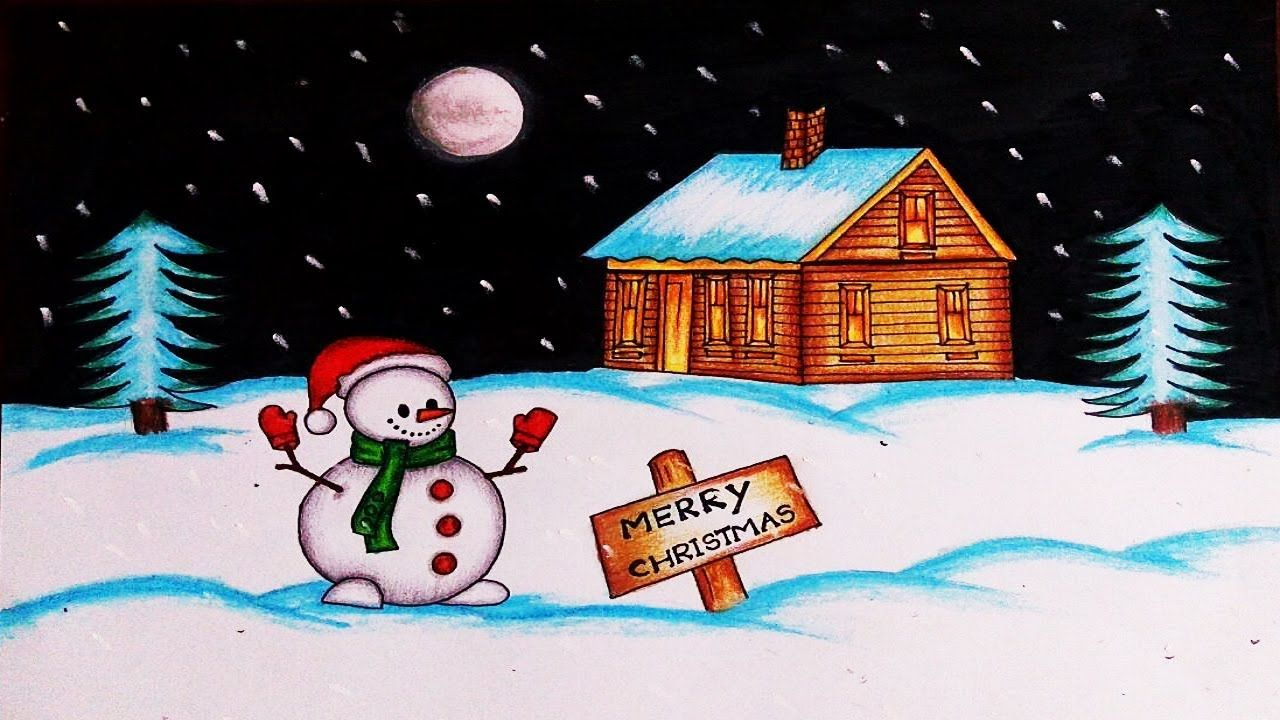 Christmas Drawings How To Draw A Christmas Scene With Snowman Easy Christmas Drawing Yo Easy Christmas Drawings Christmas Drawing Christmas Scene Drawing