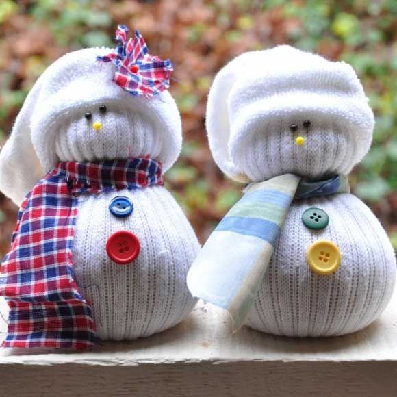 Easy DIY Christmas Crafts for Kids - Sock Snowmen - Click pic for 45 Budget Friendly Holiday Decor Ideas