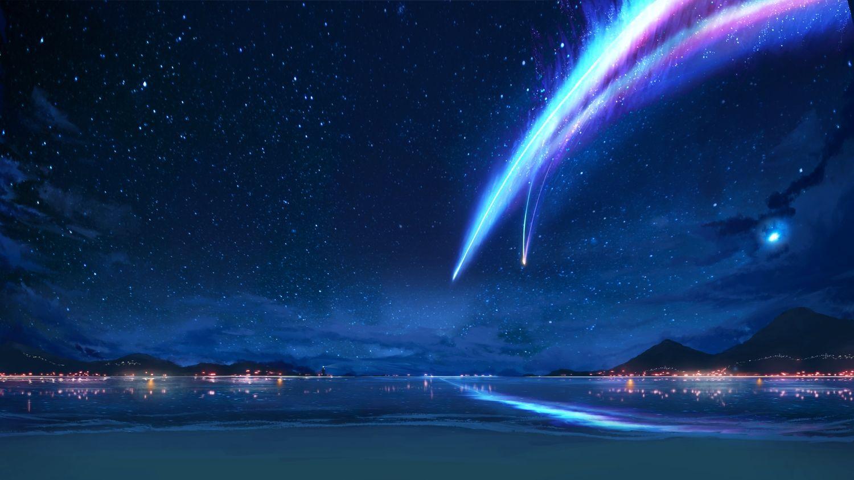 Beach Kimi No Na Wa Landscape Night Scenic Water In 2020 Anime Backgrounds Wallpapers Anime Scenery Wallpaper Kimi No Na Wa