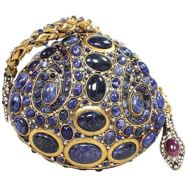 Preowned Iradj Moini Lapis Lazuli Cabochon & Rhinestone Handbag ($4,500) ❤ liked on Polyvore featuring bags, handbags, black, locking purse, hand bags, clear handbags, handbags purses and pre owned purses