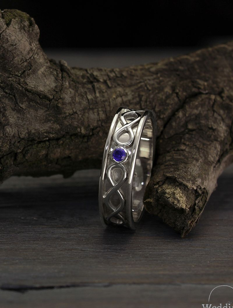 Mens infinity wedding band with sapphire Infinity silver