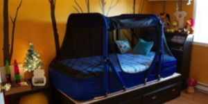the safety sleeper, bed tent option. completely encloses the