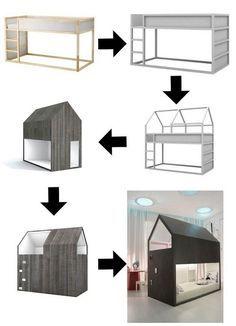 Convert IKEA Kura bed to a Little Forest House