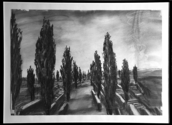 Cemetery with cypresses (Drawing from il ritorno di  Ulisse) 1998  Foto Roberto Galasso  Courtesy Fondazione MAXXI