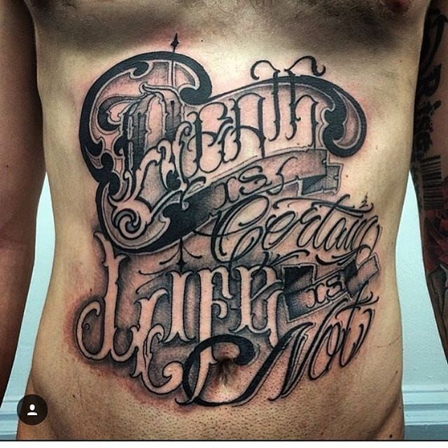Lettering tattoo by big meas script
