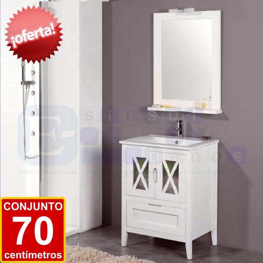 Conjunto alba 70 cm blanco muebles y auxiliares de for Mueble bano rustico blanco
