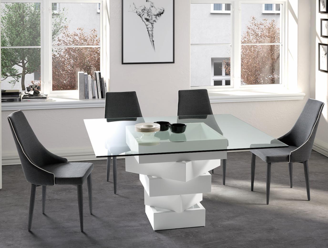 Table A Manger Carree table à manger carrée bois laqué blanc et verre kaz | tables