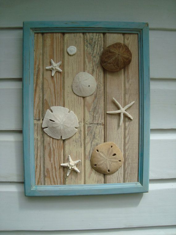 Sand Dollar & Starfish Framed Art on Reclaimed Wood | Starfish ...