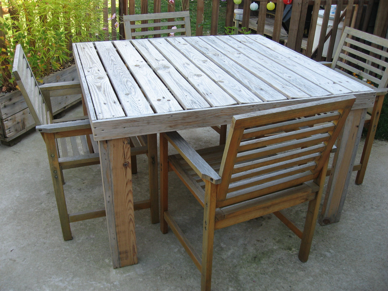 Diy table de jardin en palettes pallet garden table bricolage diy esquissedeco diy - Table a manger palette ...
