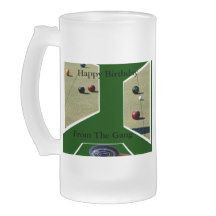 Lawn_Bowls_Birthday_Big_Frosted_Beer_Mug. Frosted Glass Mug