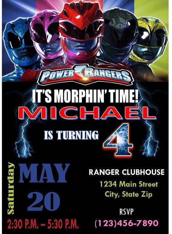 5x7 Printable Power Rangers Birthday Invitation