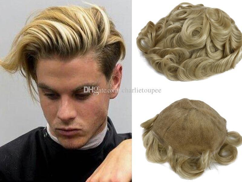 2019 Ash Blonde Color Toupee For Men Full Lace Men S Wig Hair