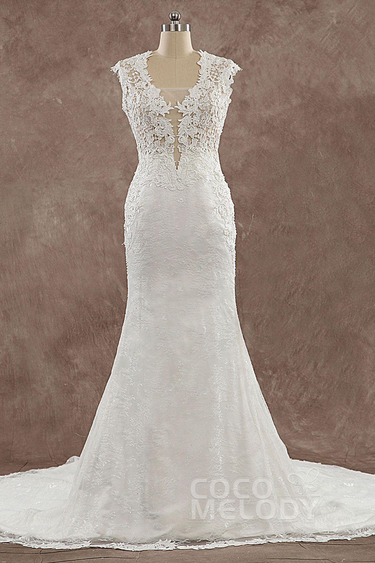 Trumpetmermaid court train lace wedding dress lwwt wedding