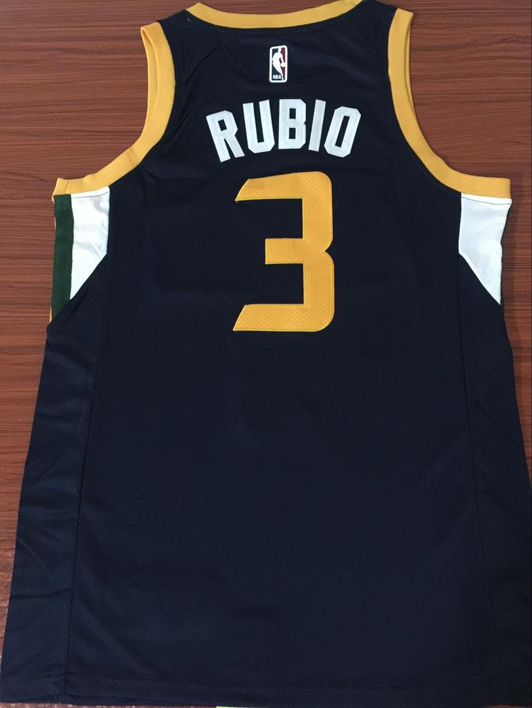 buy online 6e4c9 255a7 Men 3 Rubio Jazz Jersey Black Utah Jazz Jersey Fanatics ...