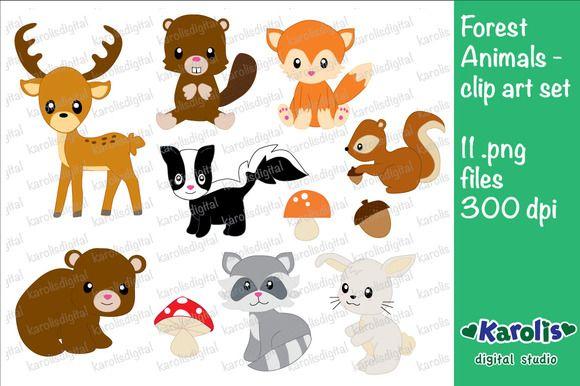 Forest Animals - clip art set by Karolis digital studio on Creative Market