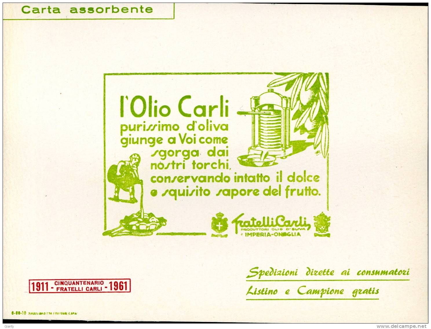 CARTA ASSORBENTE PUBBLICITA' OLIO CARLI ONEGLIA 1961