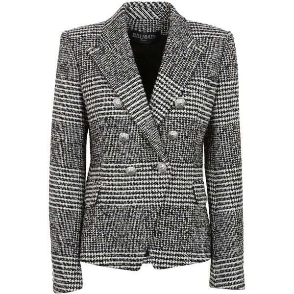 Houndstooth Double Breasted Tweed Blazer (€868) ❤ liked on Polyvore featuring outerwear, jackets, blazers, blazer jacket, tweed blazer, black and white blazer, black and white jacket and white and black blazer