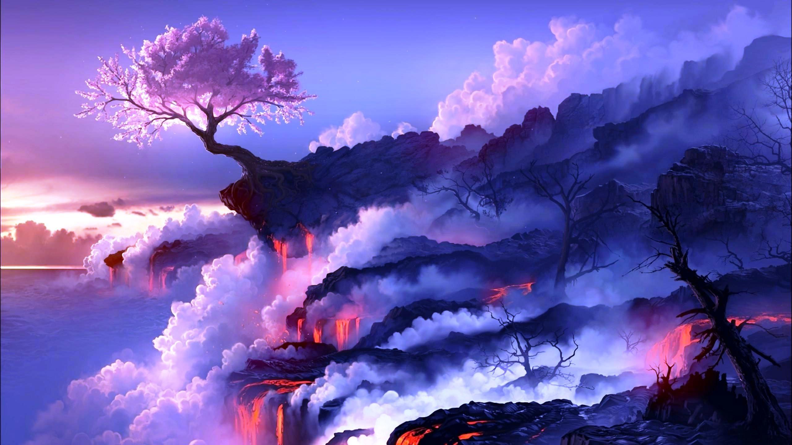 Volcano Full Hd Wallpaper Anime Scenery Wallpaper Scenery Wallpaper Fantasy Landscape