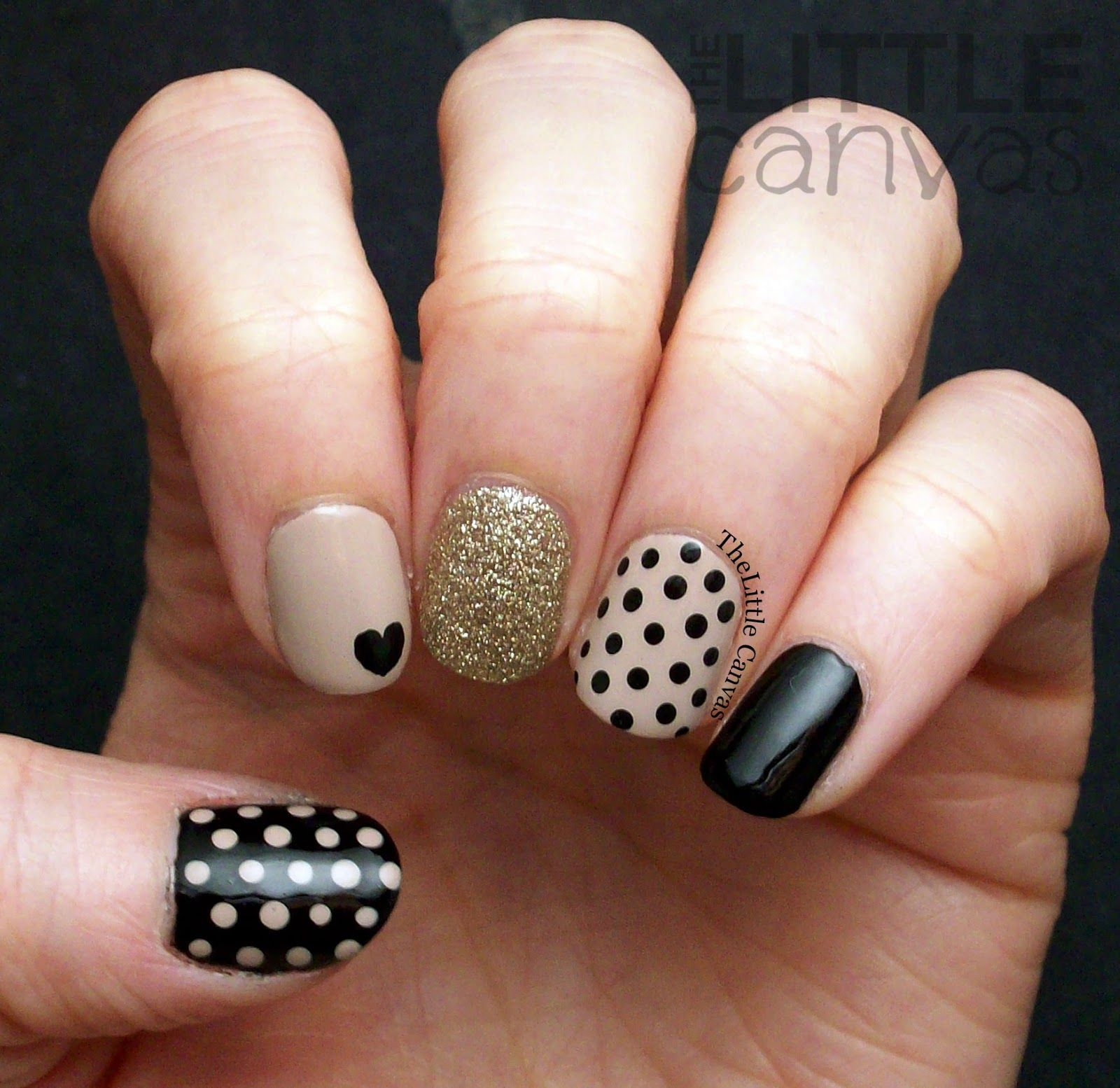 Glitzy dotticure nail art heart dots dotticure nails