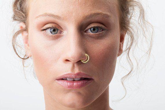 Tribal Nose Ring, Indian Nose Ring, Gold Nose Ring, Solid Gold Nose Ring, Nose Ring, Nose Hoop, Boho Nose Ring Gold, Nose Ring Gold 14k #nosering