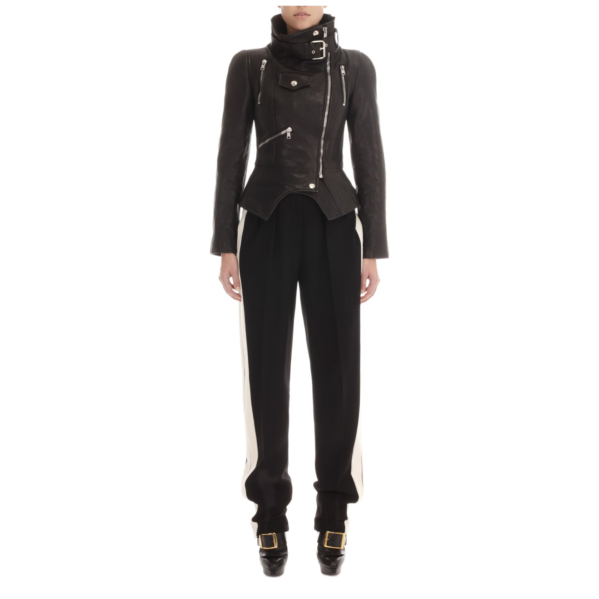 Funnel Neck Leather Jacket Alexander McQueen | Leather | Jackets Coats |