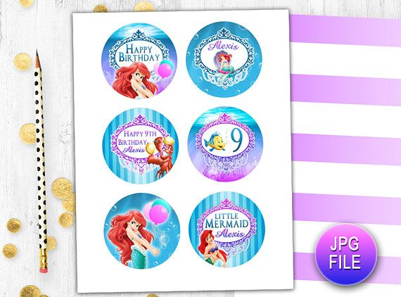 Little Mermaid Birthday Party Toppers Cupcake Toppers Cake Toppers
