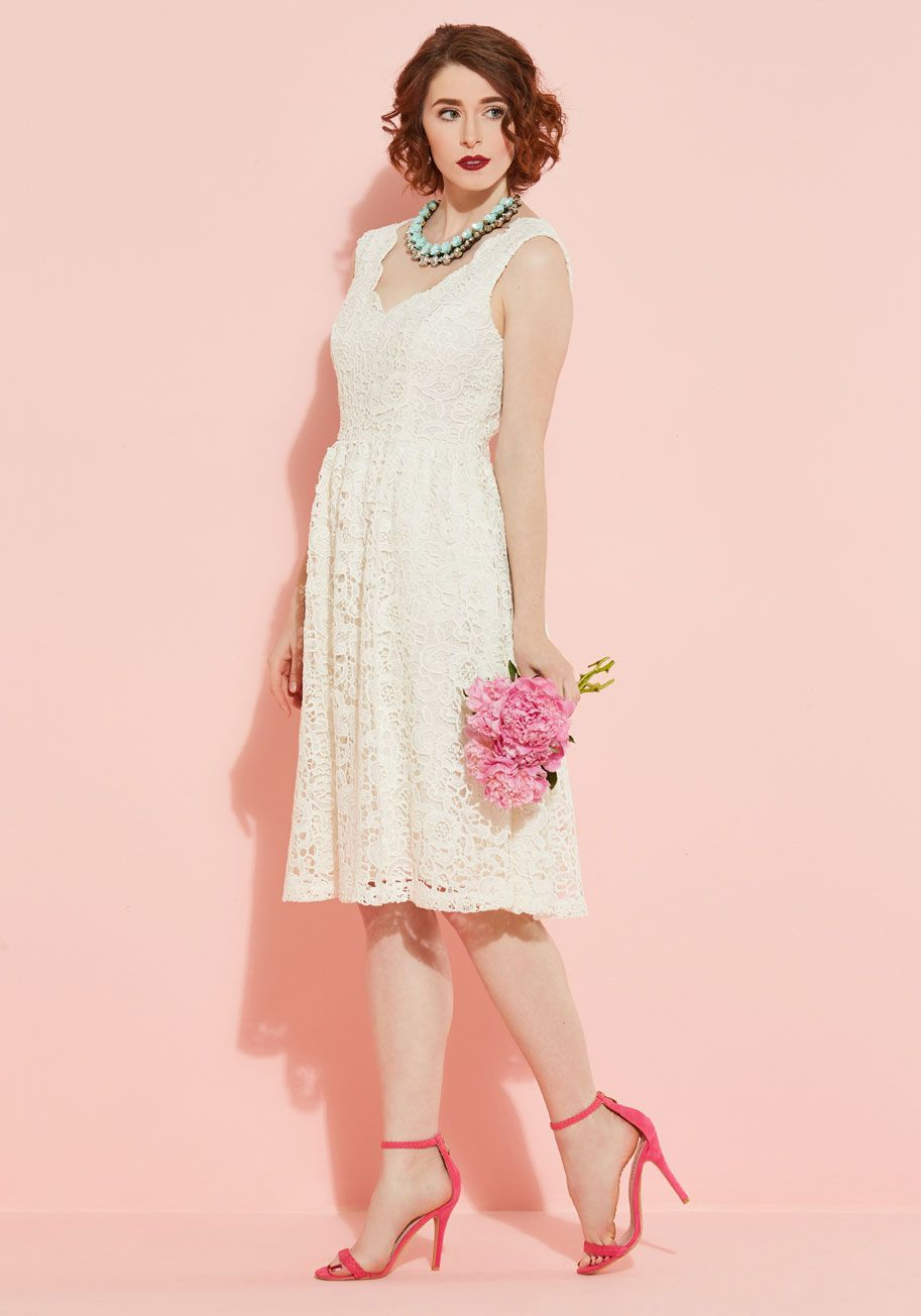 Collectif Fondness Blossoms Fit and Flare Dress in Ivory