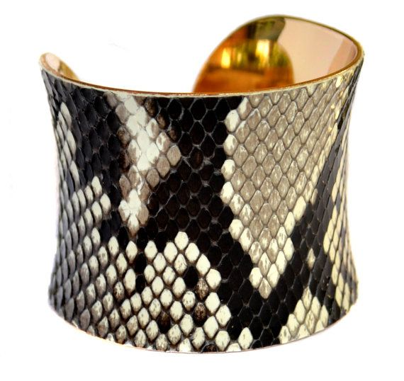 Natural Snakeskin Gold Lined Cuff Bracelet by by UNEARTHED
