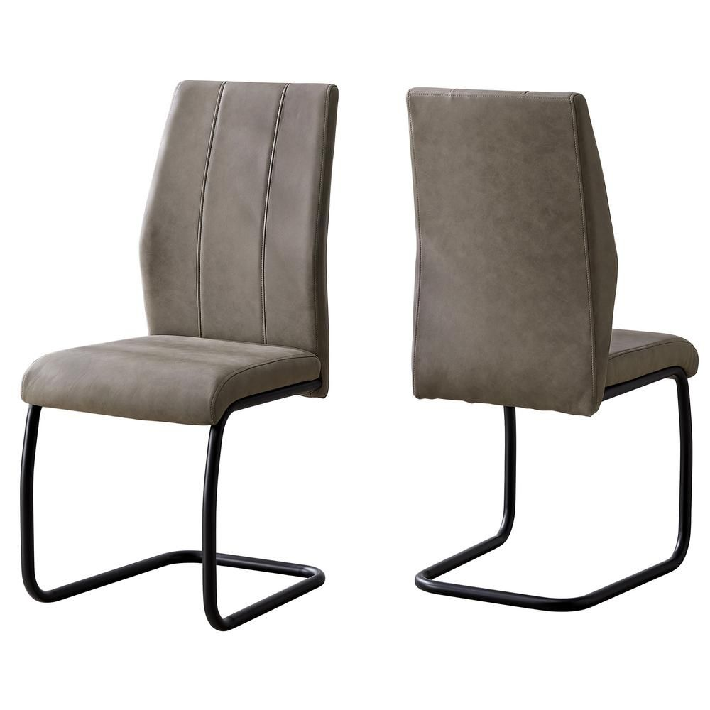 Unbranded Taupe Dining Chair 2 Piece Hd1114 The Home Depot Gray Dining Chairs Dining Chairs Black Dining Room Chairs