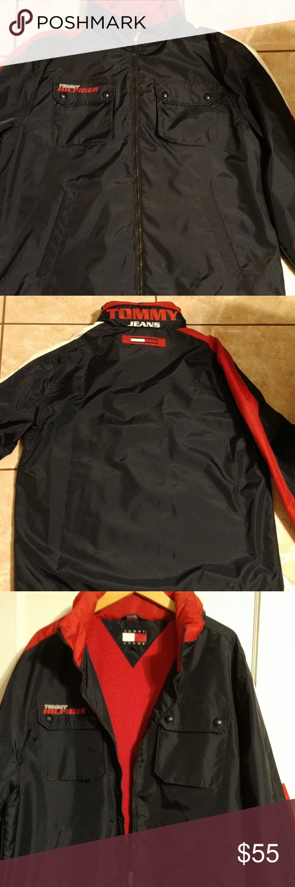 Mens jacket lightweight size largeice firm wind breaker tommy