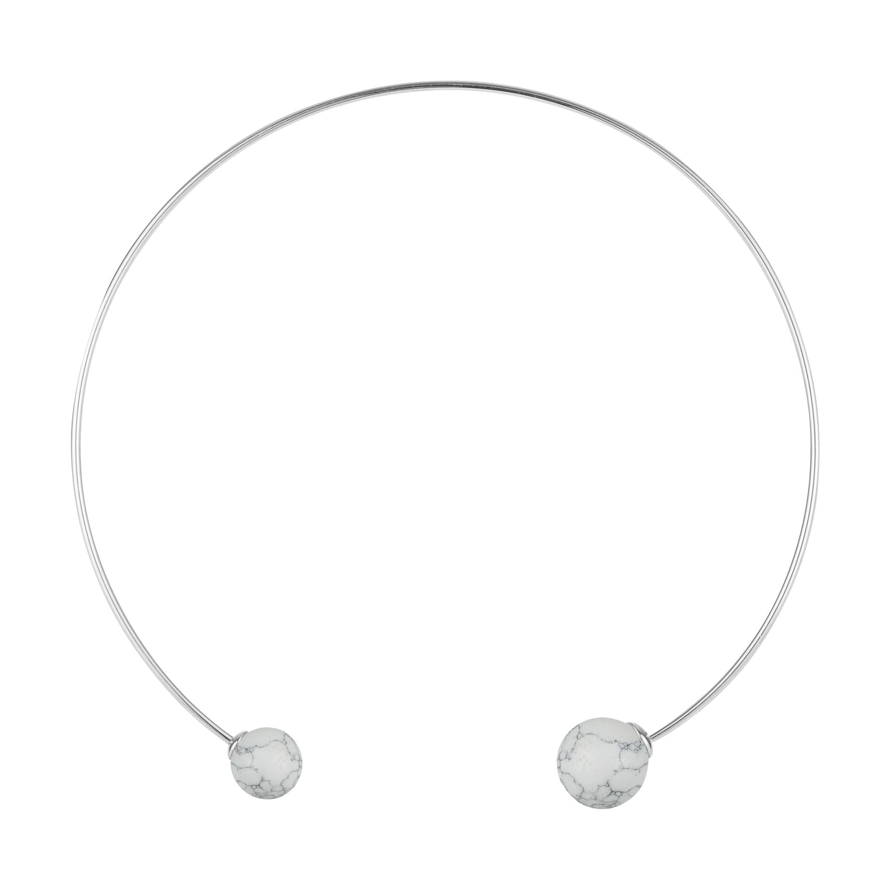 Hanna Choker in rhodium plated silver with howlite