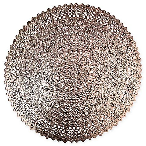 The Intricate Circular Design Of The Adele Placemat Will Add Contemporary Elegance To Your Dining Table This Easy Care Placemats Gold Tablecloth Rose Gold Bed