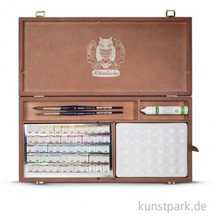 Schmincke Grosser Holzkasten Horadam Aquarell 60 Halbe Napfchen