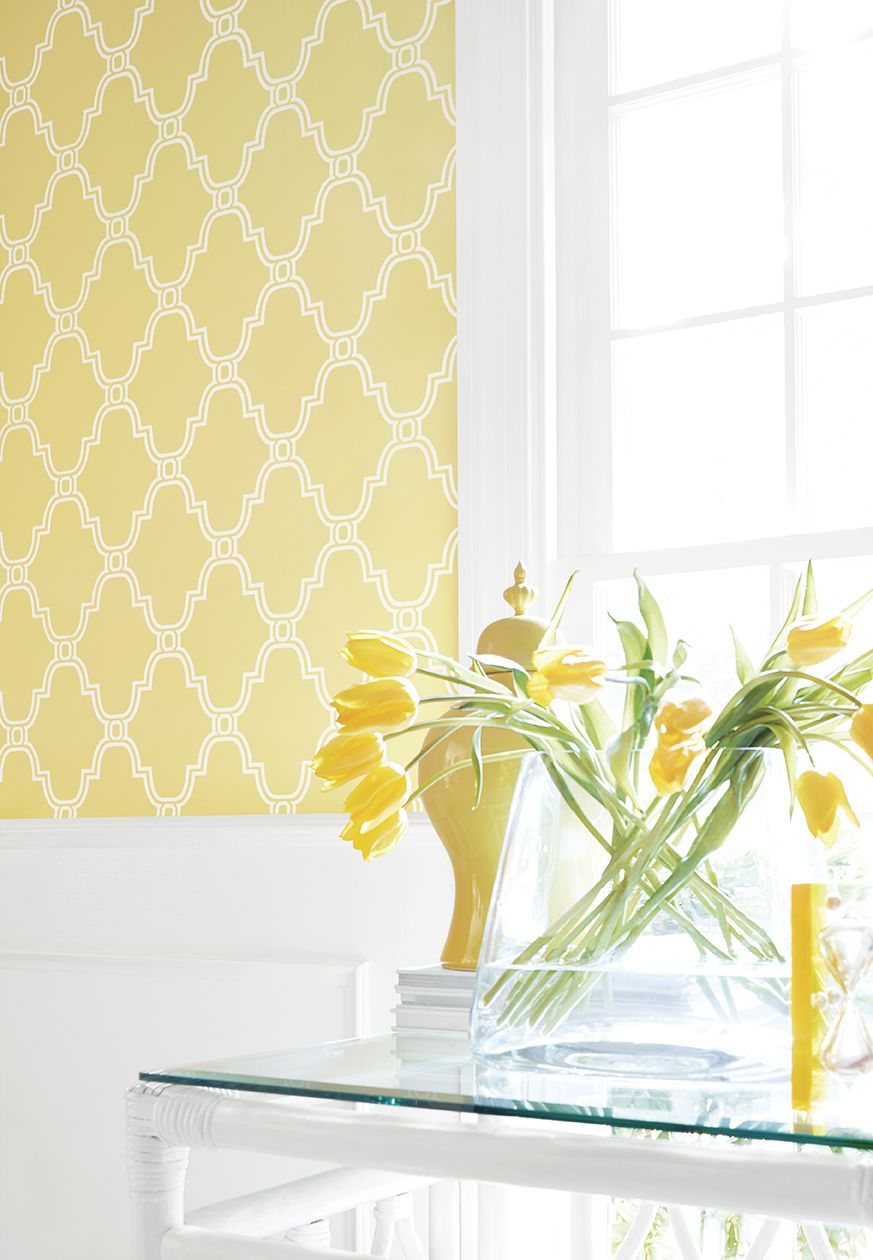 Stanbury Trellis Wallpaper In Yellow Thibaut Graphic