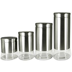 Superb @Overstock.com   Stainless Steel And Glass 4 Piece Canister Set   Add Style