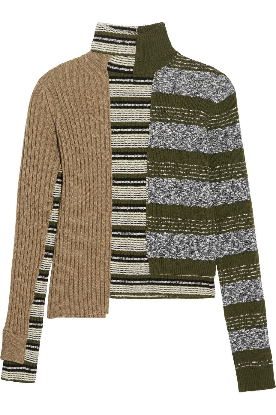 Maison Margiela | Striped ribbed wool-blend turtleneck sweater ...