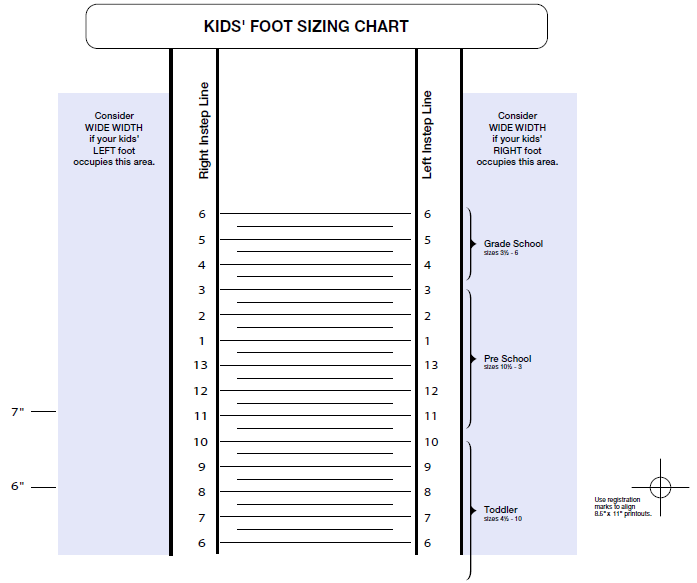 Printable Shoe Size Chart  Free Printable KidS Shoe Sizing Chart