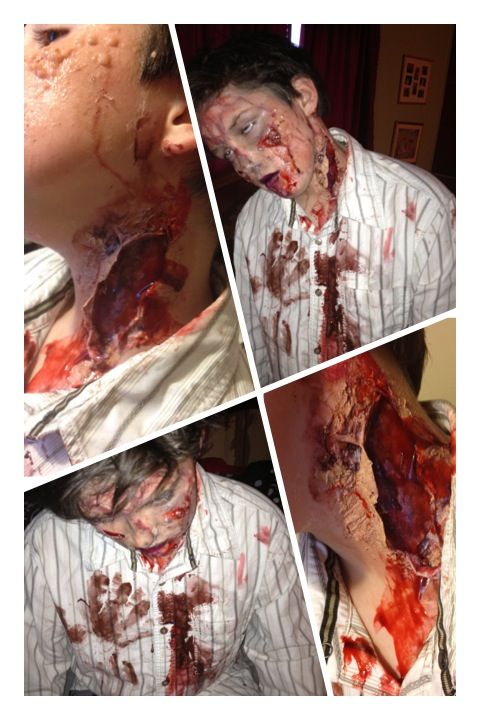 Halloween zombie DIY makeup. Used gelatin, glue and tissue paper ...