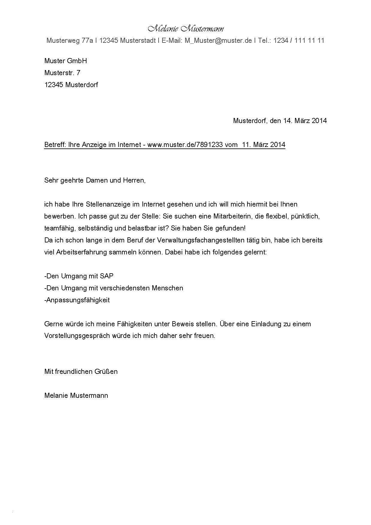 Briefprobe Briefformat Briefvorlage Bewerbung Anschreiben Bewerbung Muster Bewerbung