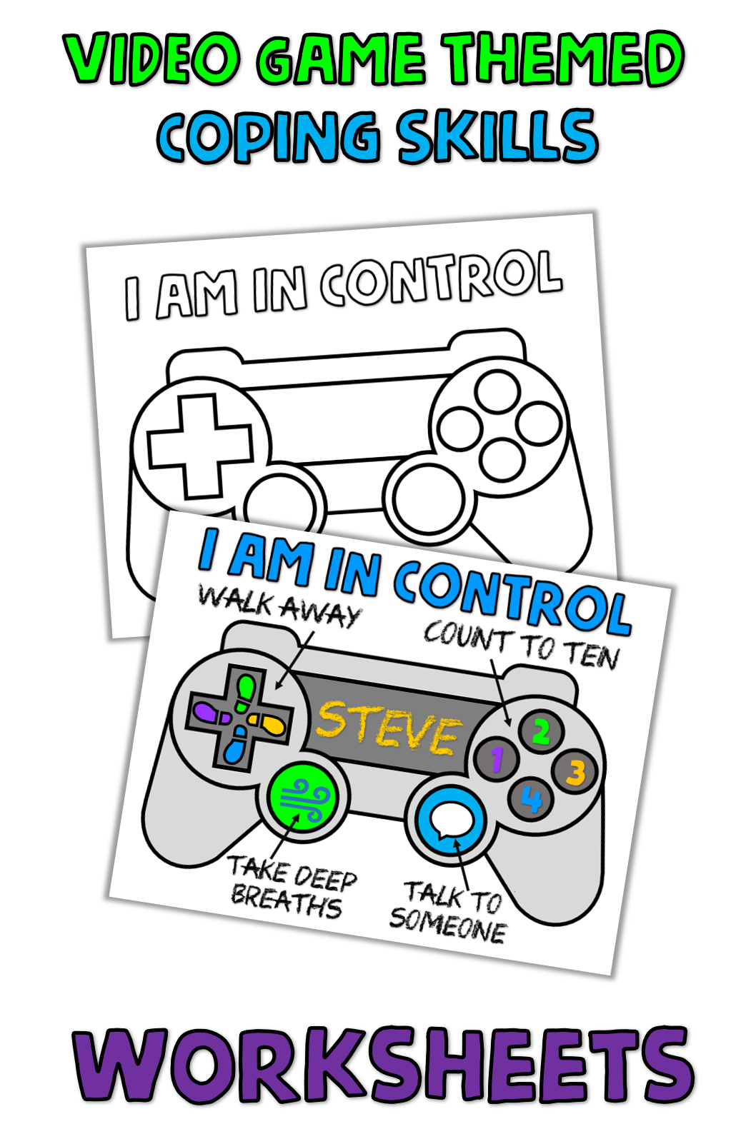 Video Game Controller Coping Strategies Worksheet With