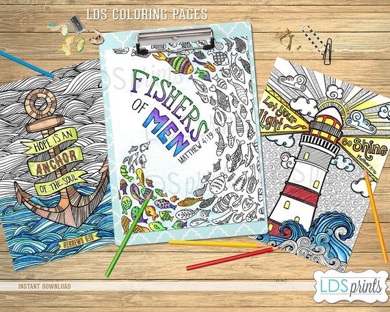 Lds Adult Coloring Pages Ocean Set Lds Printable Program Cover