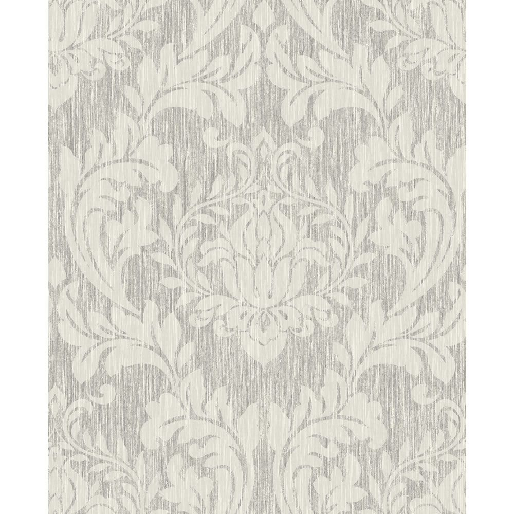 Wilko Best Damask Silver and White Wallpaper Gold and