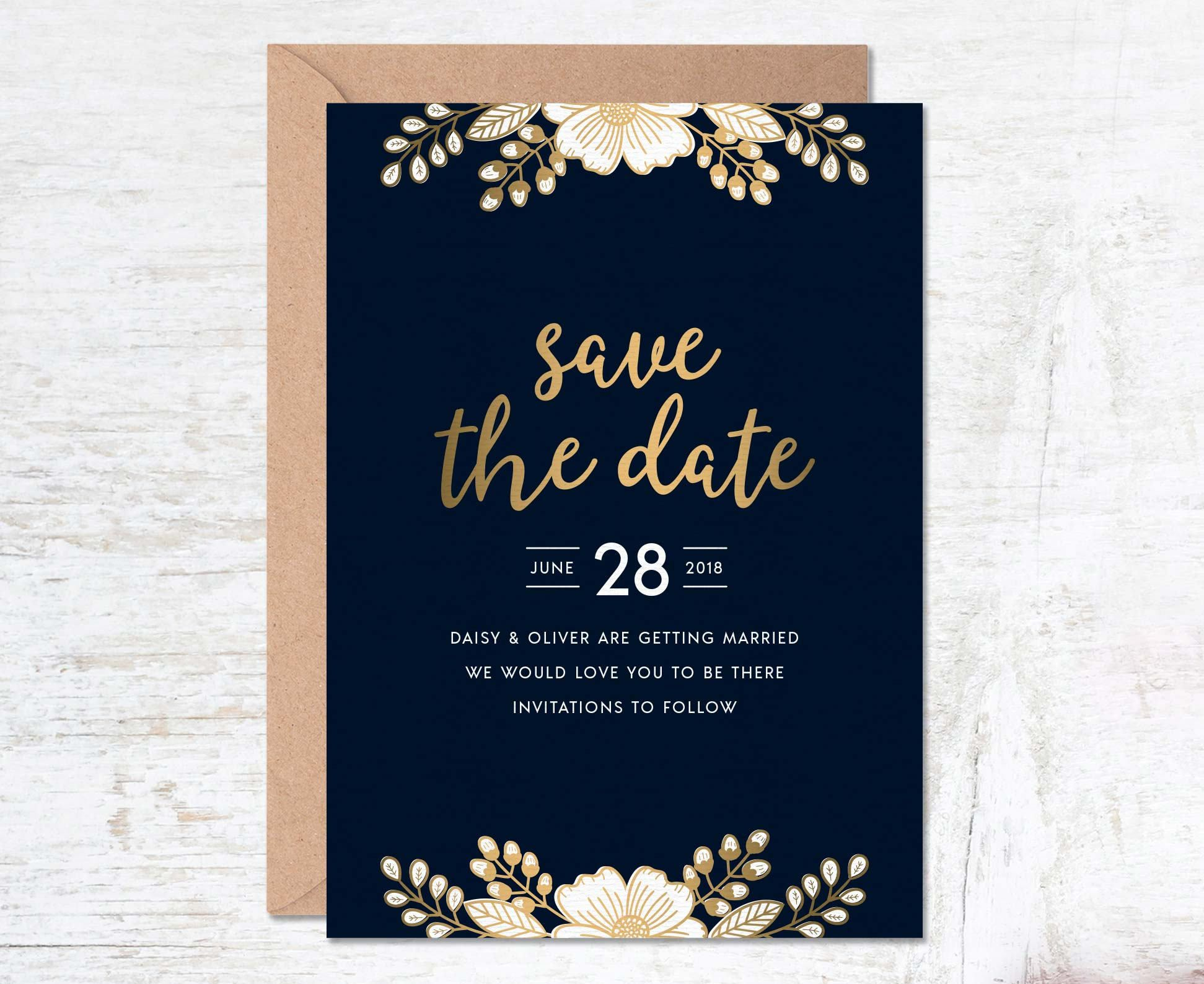 Gold Save the Date, Save the Date Template, Wedding Invitation ...