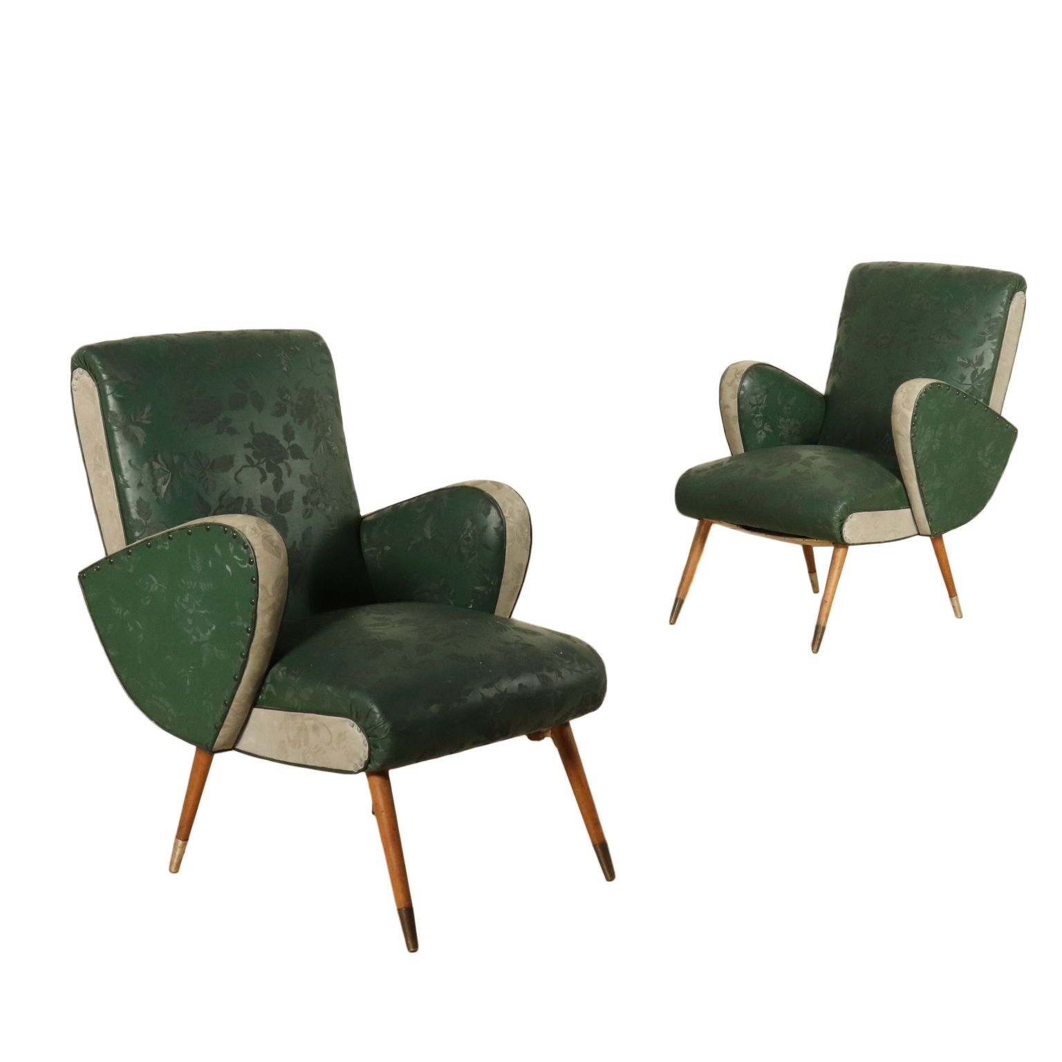 Pair Of Armchairs Springs Padding Skai Brass Vintage Italy 1950s Armchair Furniture Armchair Design